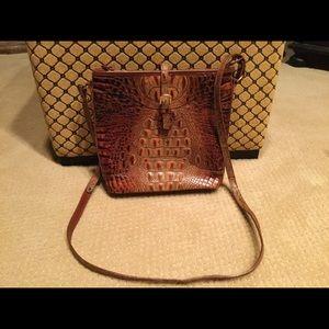 New Brahmin brown crocodile Leather crossbody bag